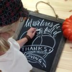 Hand lettered chalkboard at The Collective lhe and Makery in Lisle,IL