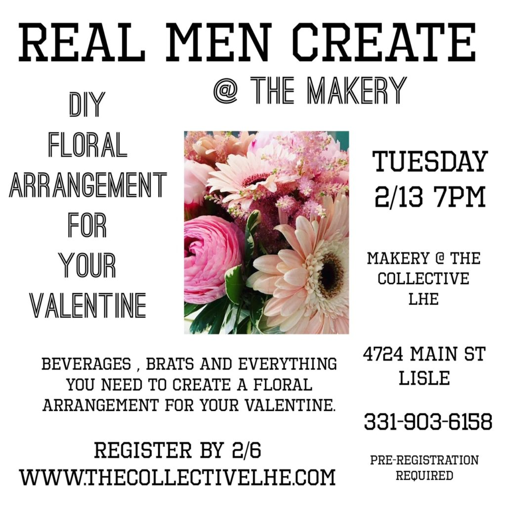 Men's floral design class for Valentine's Day
