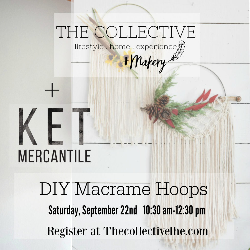 The Collective lhe Makery and Ket Mercantile Macrame Hoop Workshop in Lisle, IL