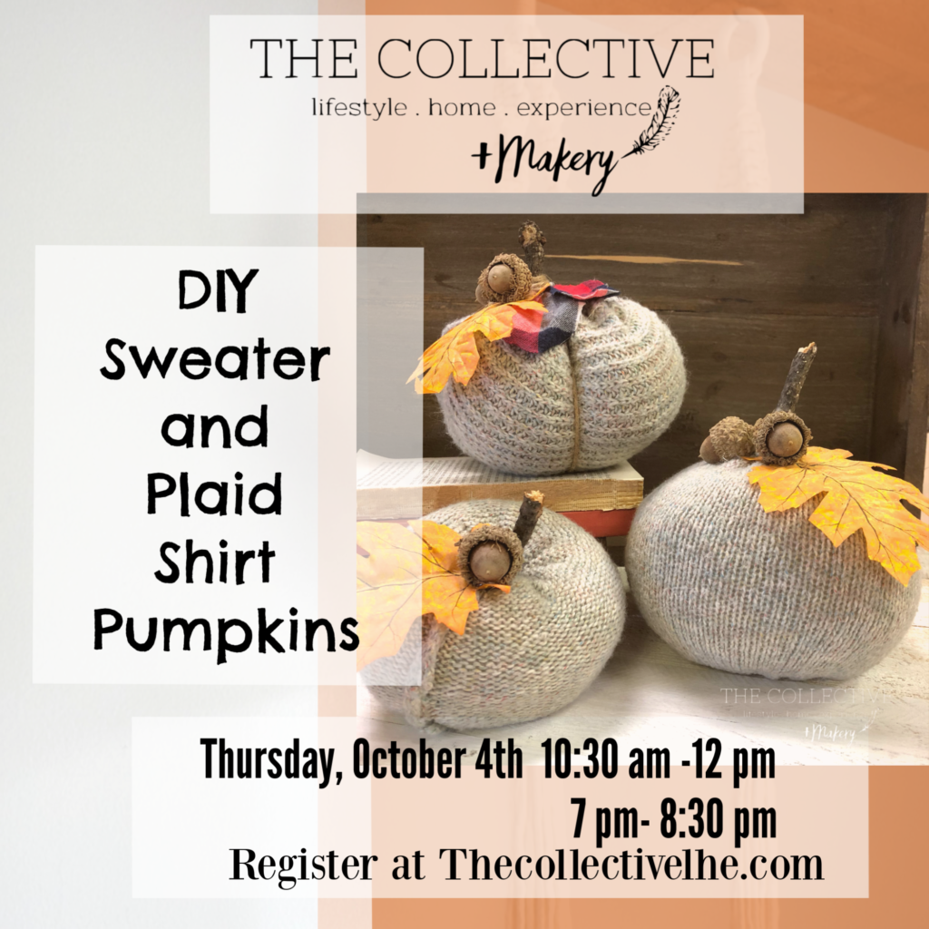 DIy sweater pumpkin workshop at The Collective lhe + Makery