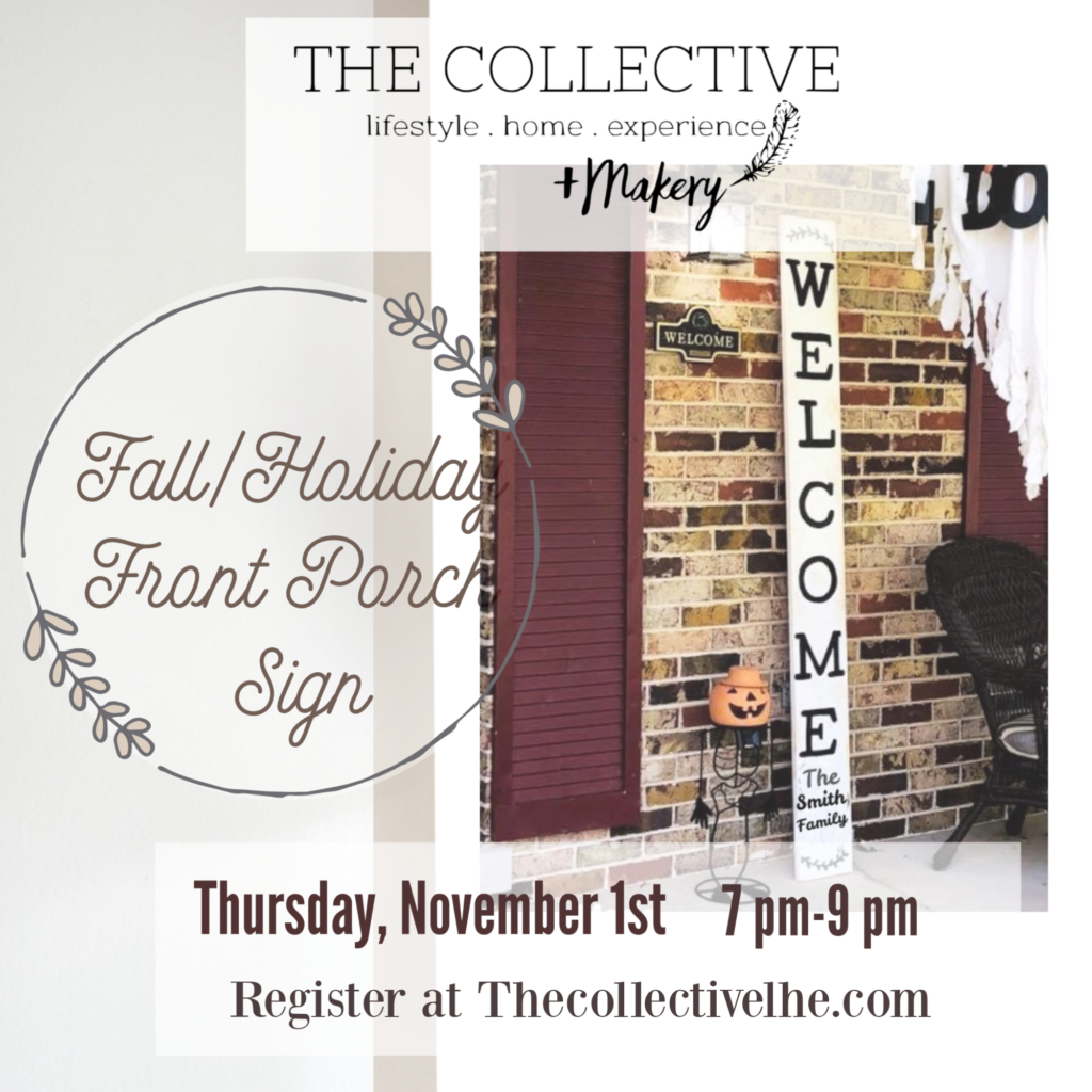 Holiday front porch sign workshop at The Collective lhe + Makery in Lisle, IL