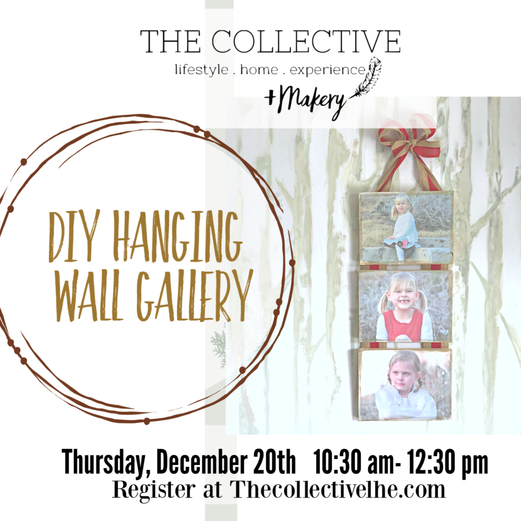 DIy hanging photo gallery workshop at The Collective lhe + Makery in Lisle, IL