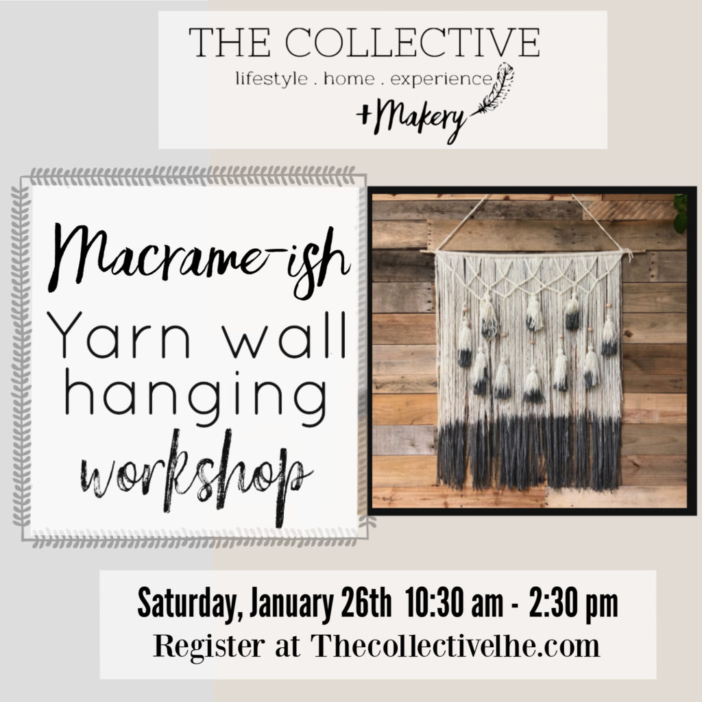 Macrame-ish wall hanging with dyed yarn at The Collective lhe +Makery