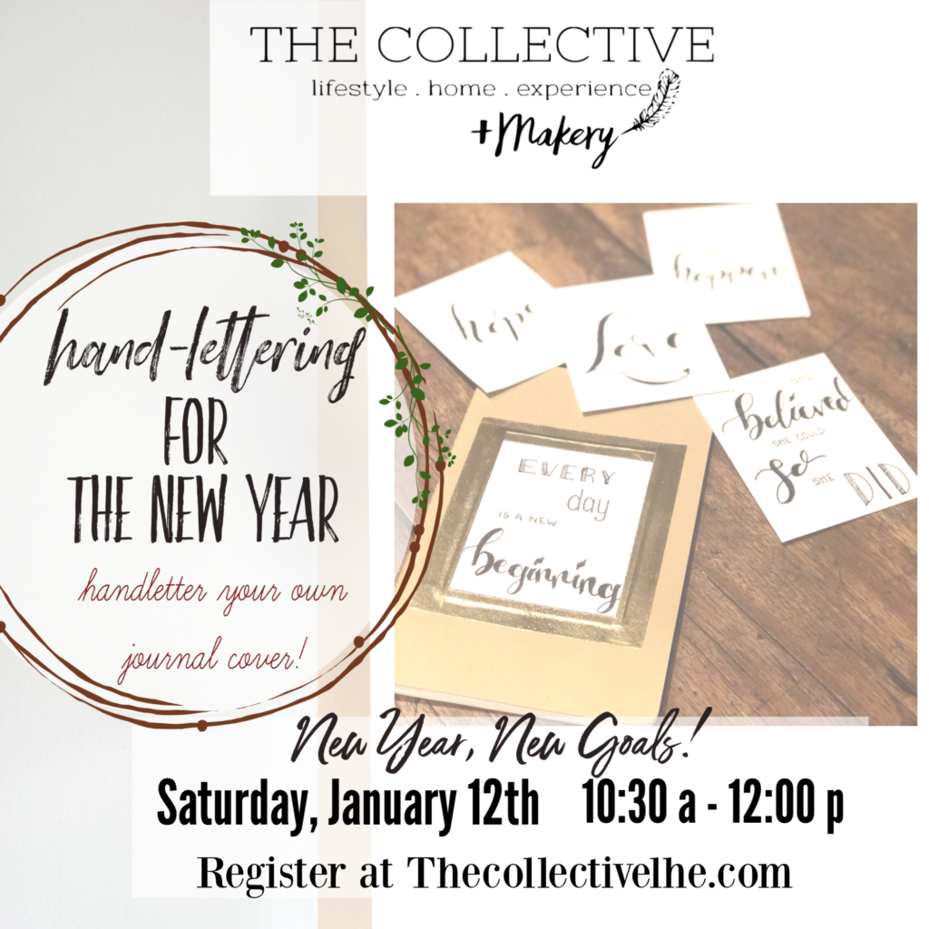 New Year Handlettering workshop at The Collective lhe +Makery in LIsle, IL