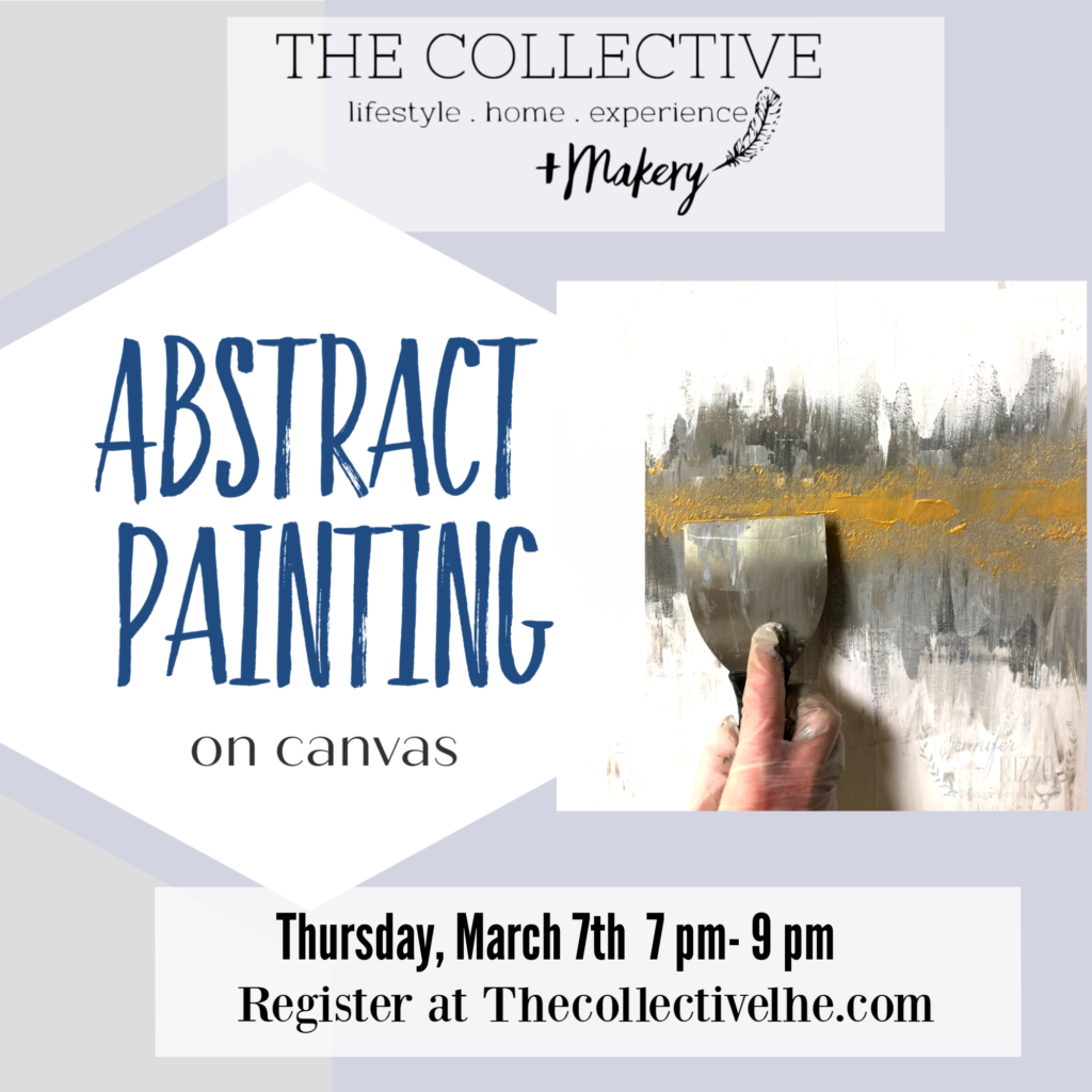 Abstract canvas painting workshop at The Collective lhe + Makery in Lisle, IL