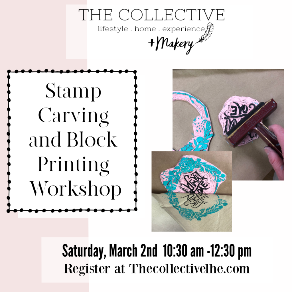 Stamp carving and Blocking Printing Workshop at The Collective lhe +Makery in Lisle, IL