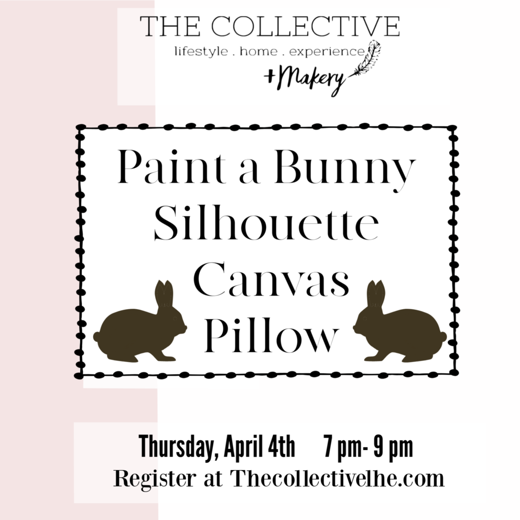 Paint a bunny canvas pillow at the Collecctive lhe Makery