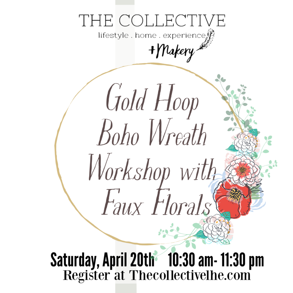 Gold hoop wreath workshop the Collecctive lhe + Makery
