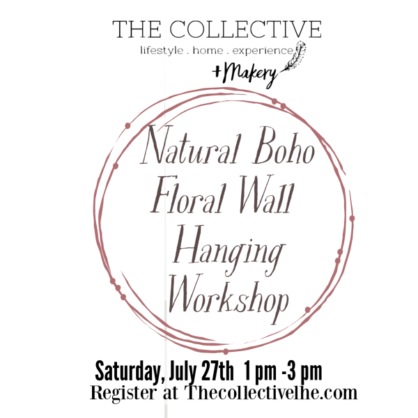 Natural boho floral wall hanging workshop at The Collective lhe + Makery