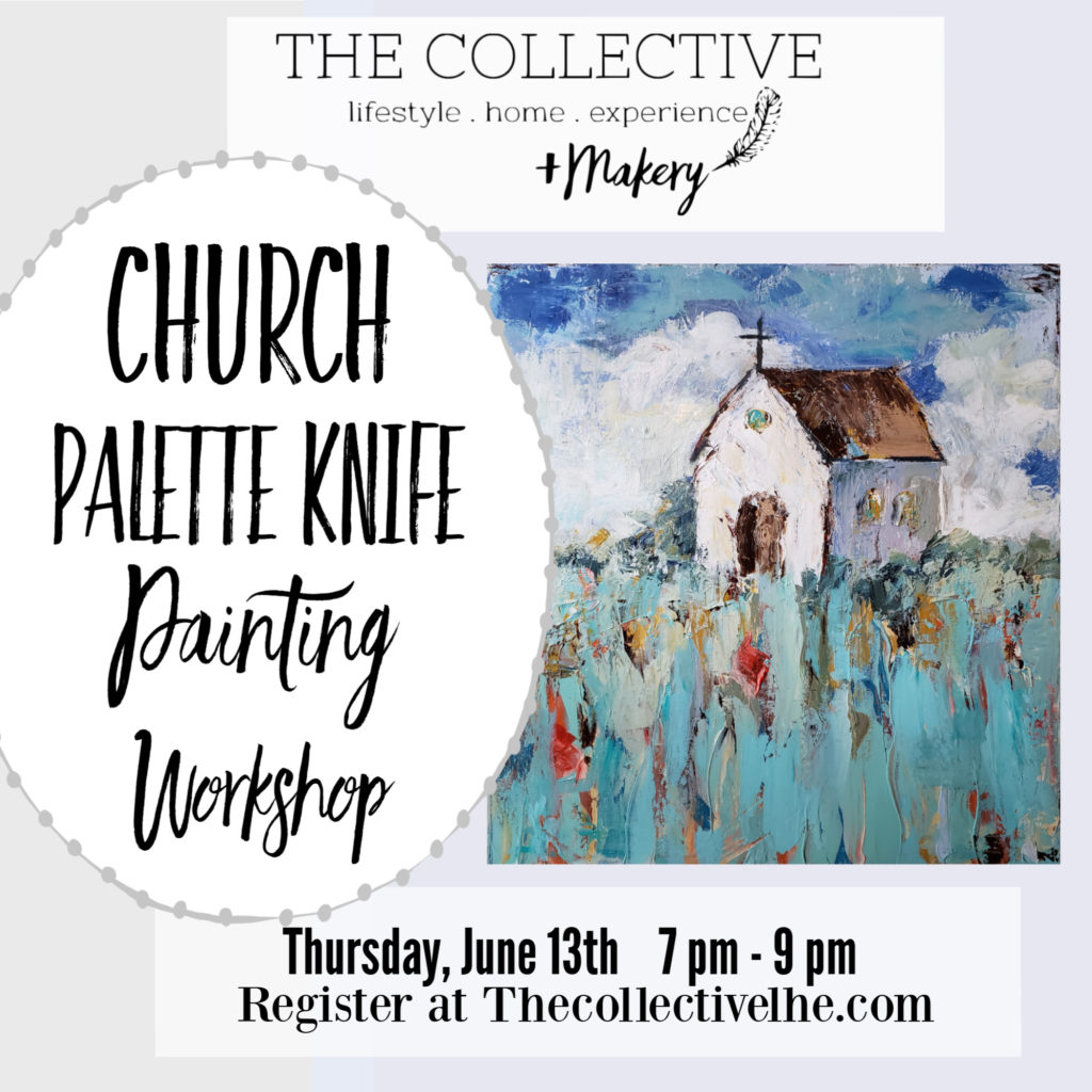 Church Knife Palette Painting Workshop at The Collective lhe + Makery in Lisle,IL