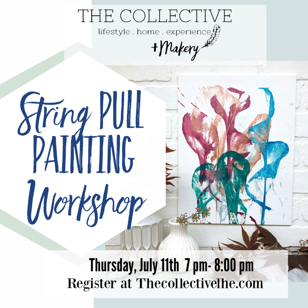 String Pull painting workshop at The Collective lhe + Makery in Lisle, IL