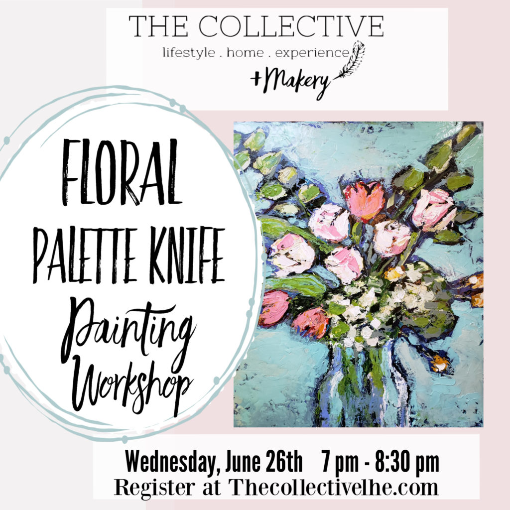 Painting a floral with a palette knife at The Collective lhe + Makery