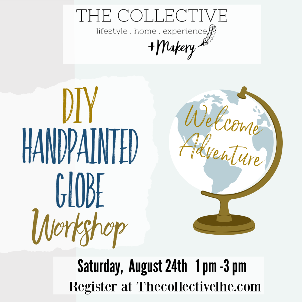 Handpainted globe Workshop at The Collective lhe +Makery in Lisle, IL