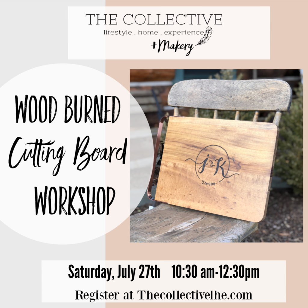Wood burned cutting board with The Collective lhe + Makery in Lisle,IL