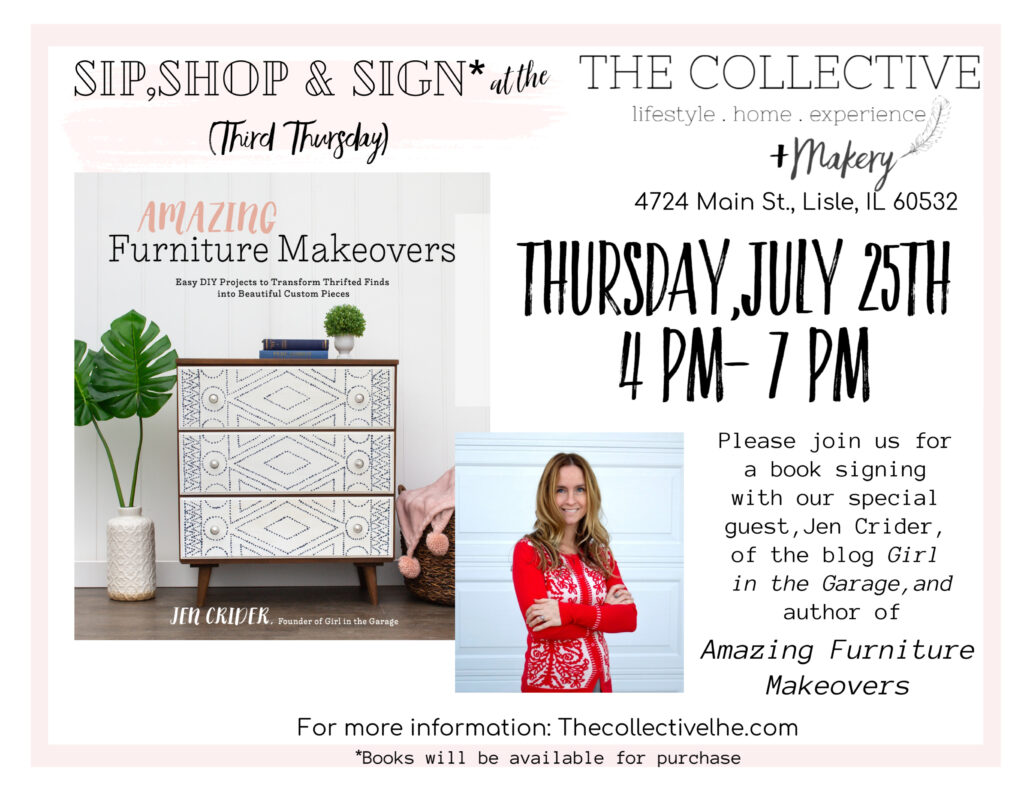 Jen girl in the garage book Amazing Furniture makeovers book signing