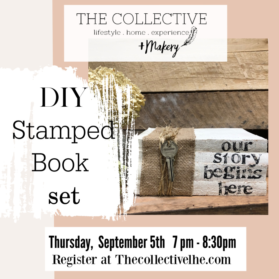 DIY Stamped Book set at The Collective lhe + makery in lisle Il