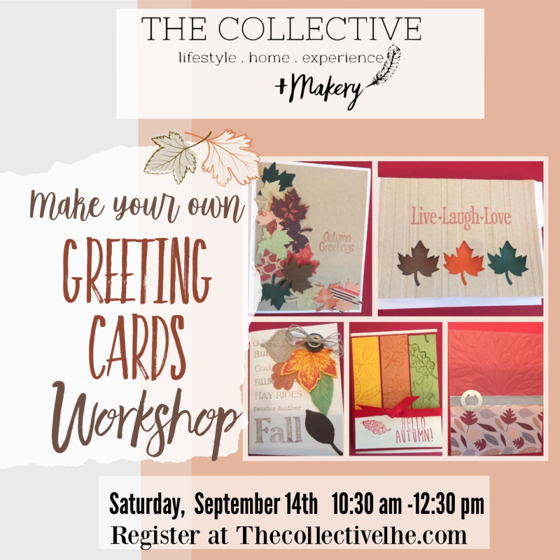 DIY greetting carf workshop at The Collective lhe and Makery