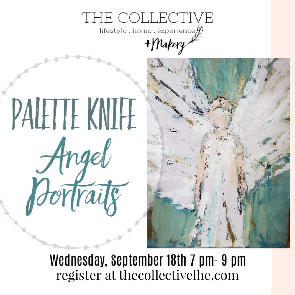 Palette Knife Angel Painting at The Collective lhe Makery