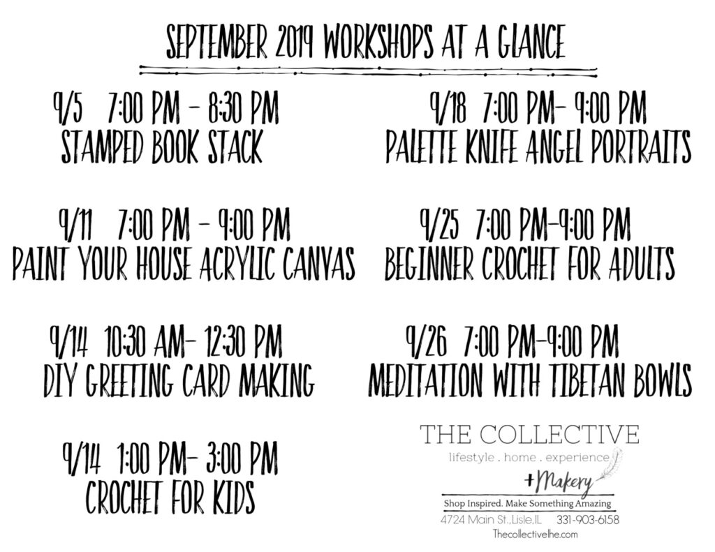 September Workshops for the Collective lhe Makery Lisle IL