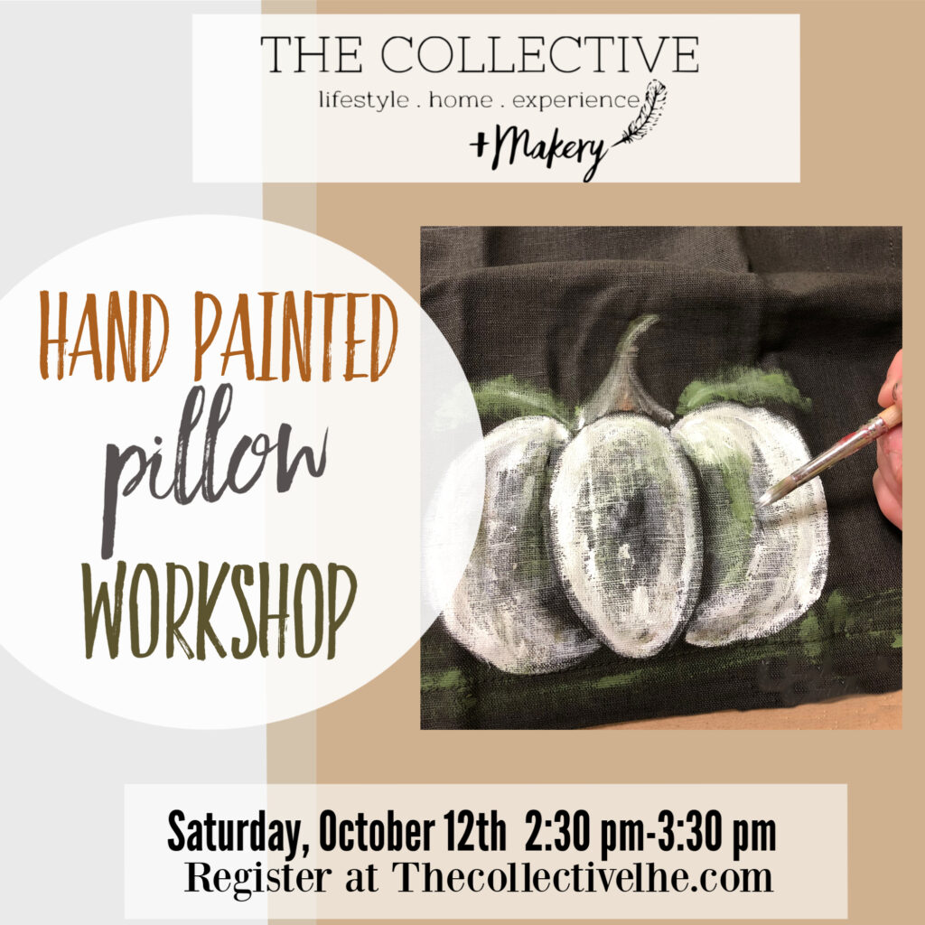 Paint a pumpkin pillow workshop at The Collective lhe _makery oin Lisle, IL