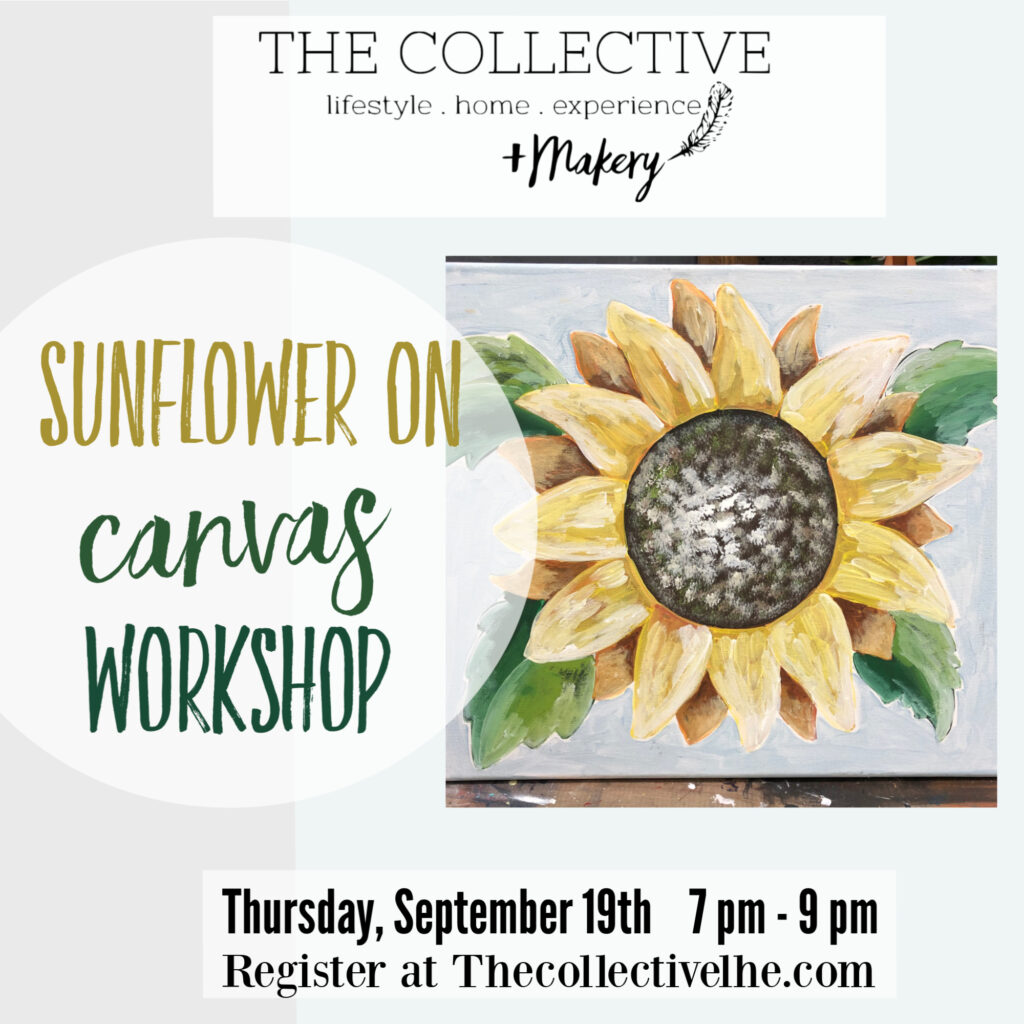 Paint a Sunflower on Canvas at The Collective lhe +Makery in Lisle, IL
