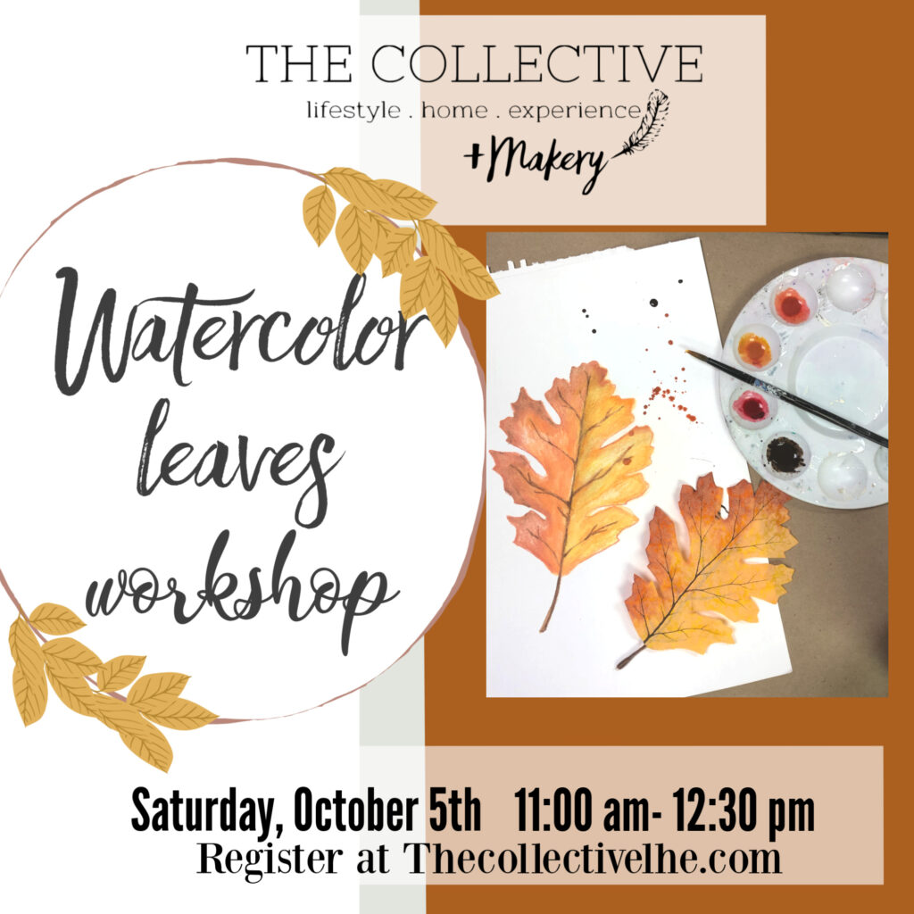 Watercolor fall leaves wrwokshop at The Collective lhe +Makery Lisle IL
