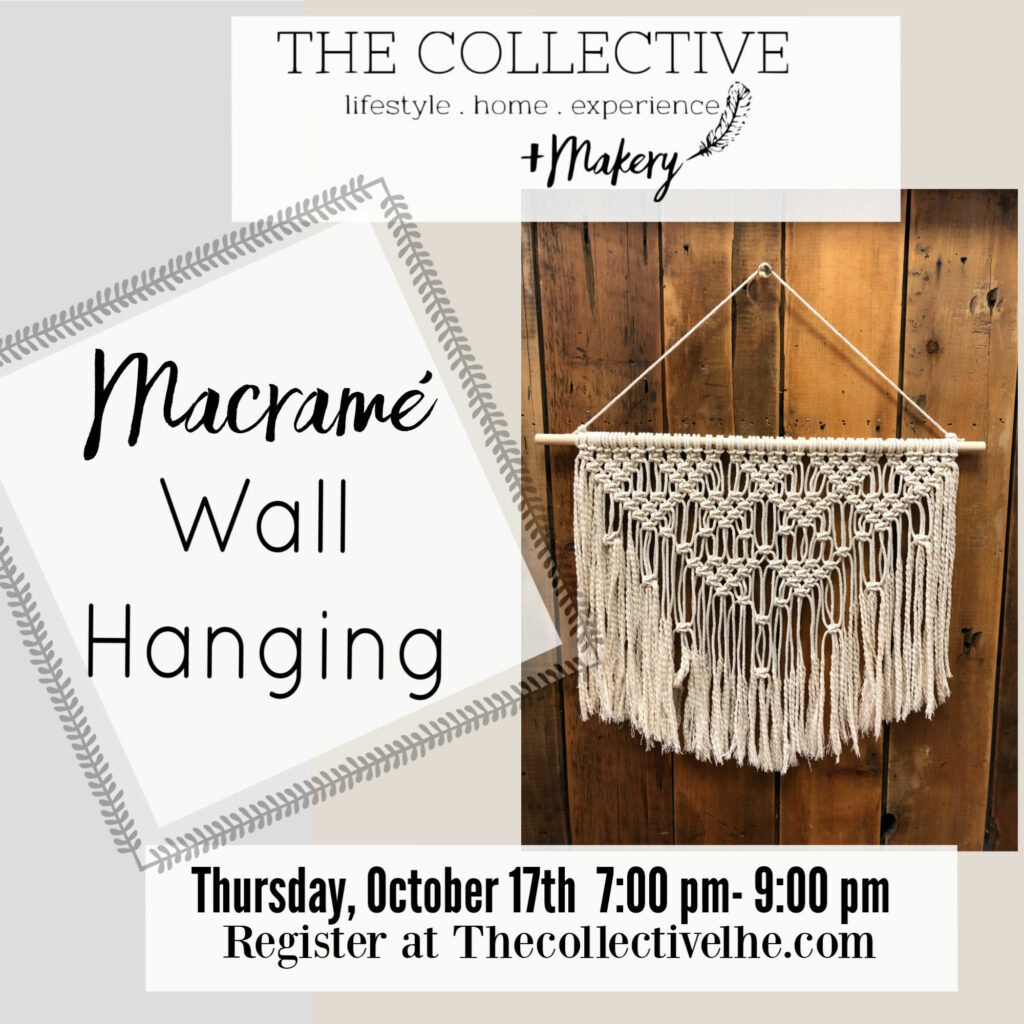 Macreme wall hanging at The Collective lhe + Makery in Lisle, IL