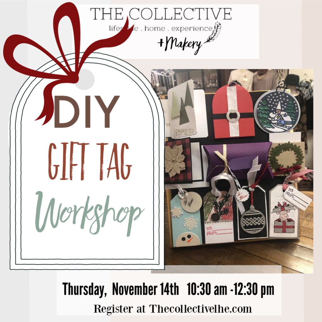 DIY gift tag workshop at The Collective lhe Makery in Lisle IL