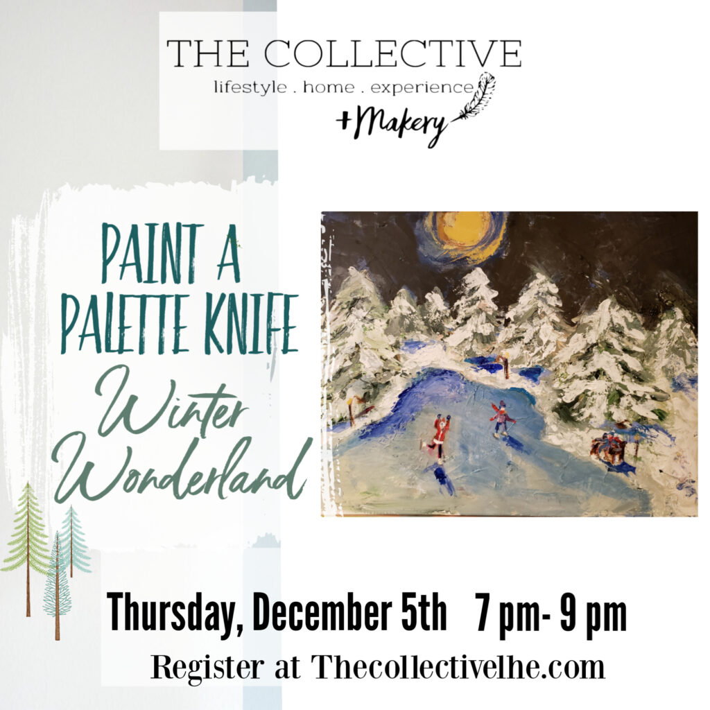 Paint a Palette Knife Winter Scene at The Collective lhe +Makery in Lisle ,IL