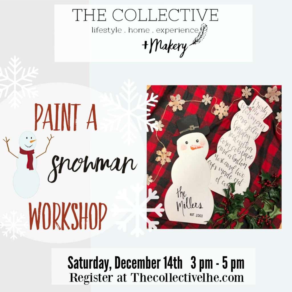 Paint a snowman workshop the Collective lhe Makery in Lisle IL