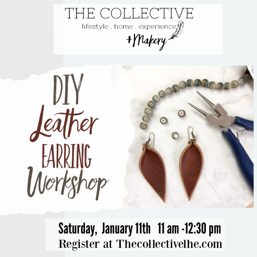 DIY leather earring workshop at The Collective lhe Makery in Lisle, IL