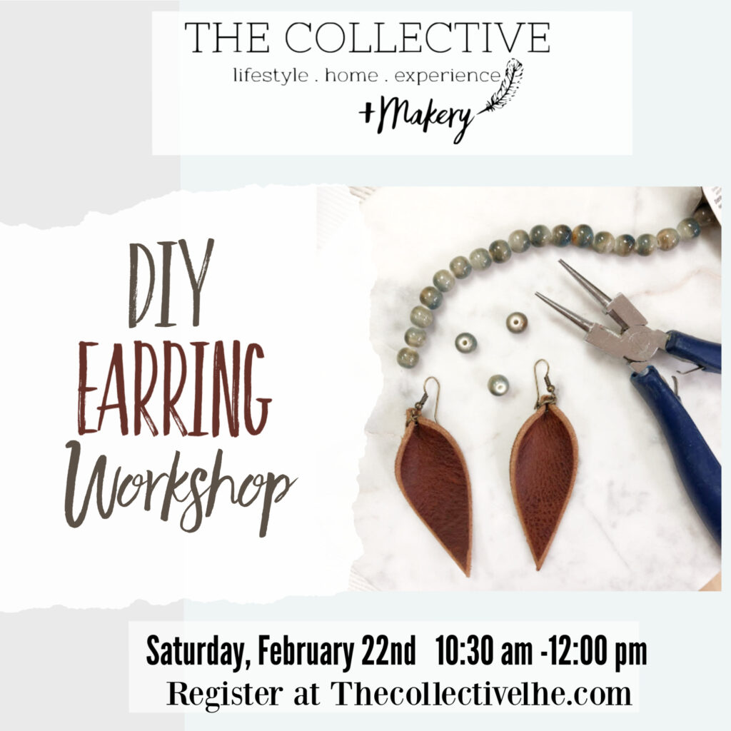 DIy leather earring workshop The Collective lhe Makery Lisle IL