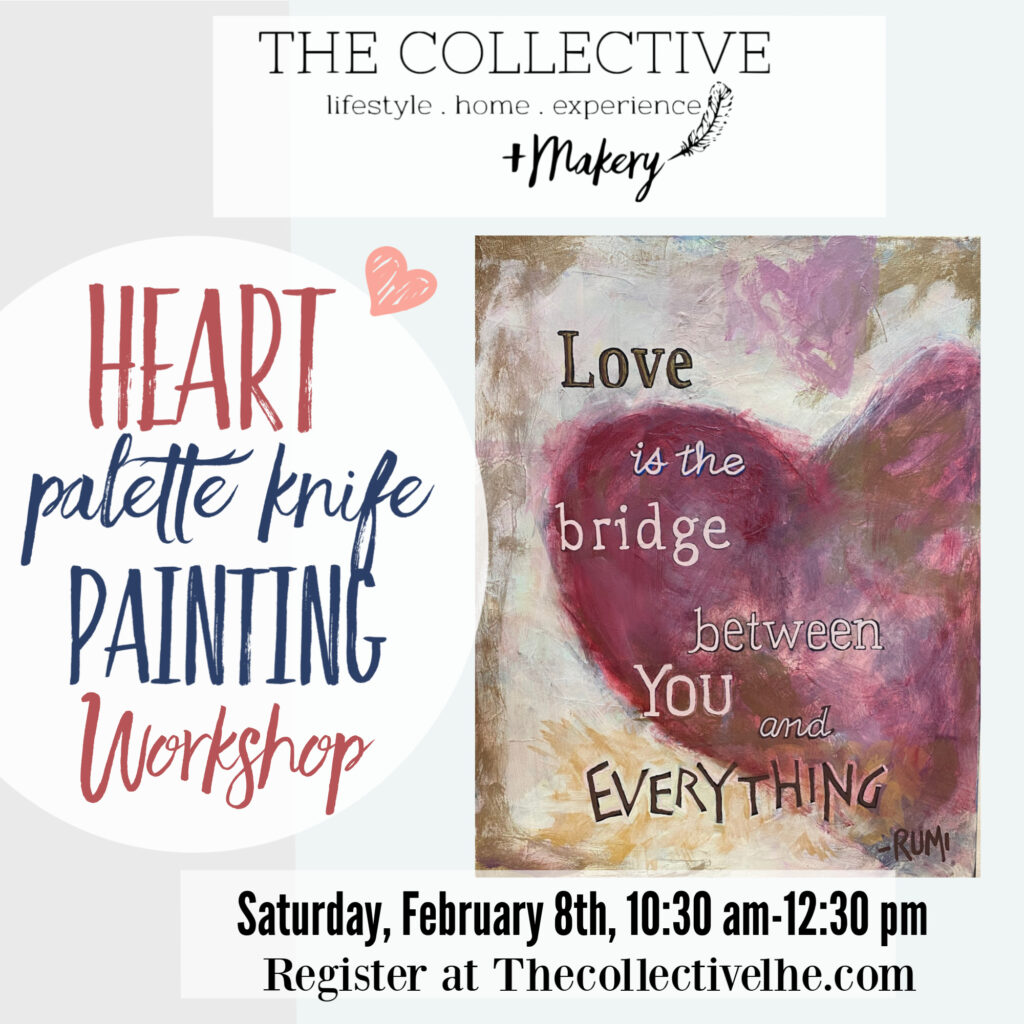 Painted Heart Palette Knife Workshop The Collective lhe Makery in Lisle IL