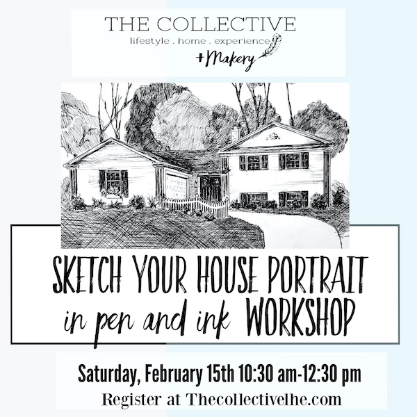 Sketch your house in pen and ink at The Collective lhe + Makery in Lisle, IL