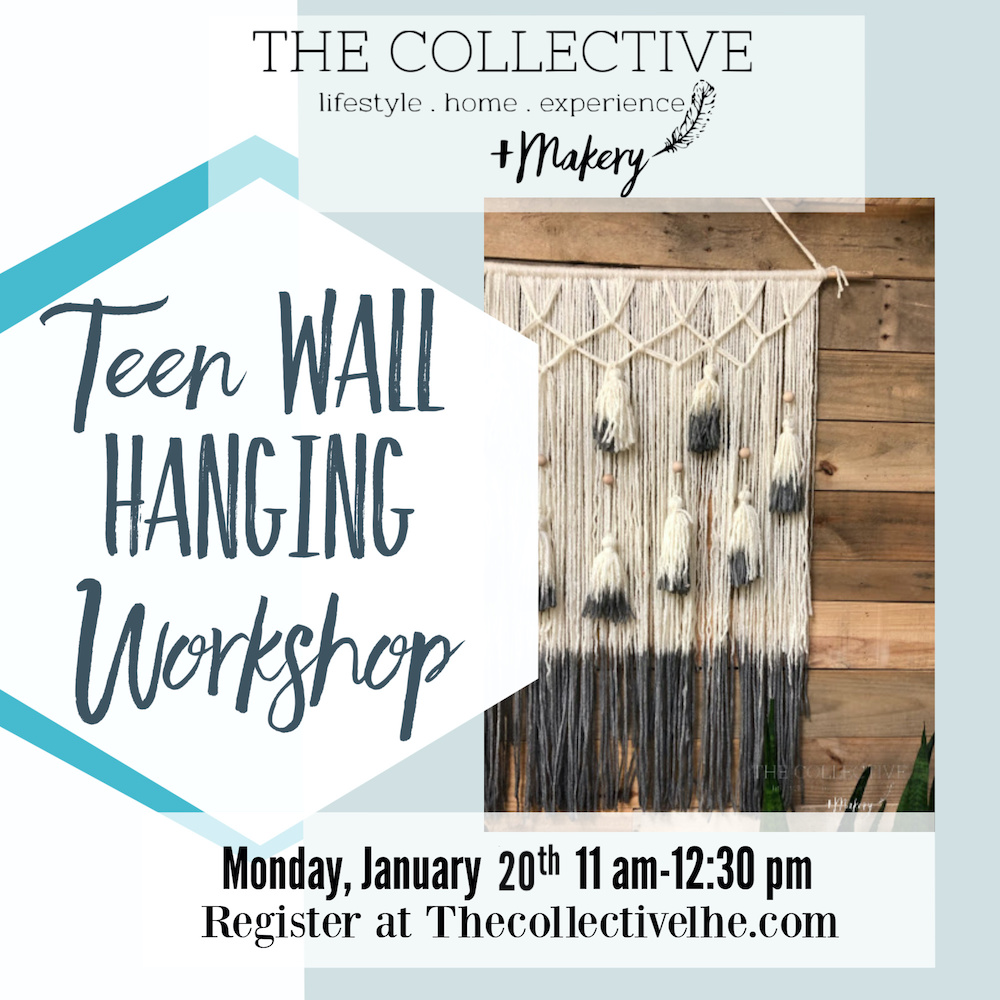 Teen wall weaving workshop at The Collective lhe Makery in Lisle, IL