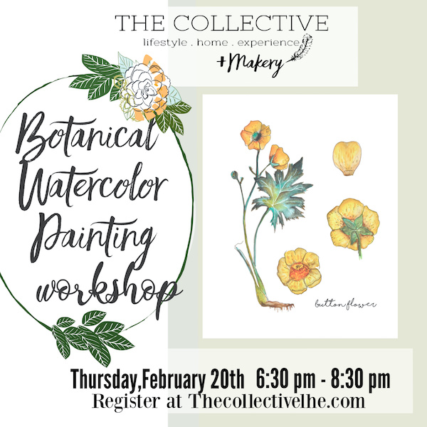Botanical Watercolor painting workshop The Collective lhe + Makery Lisle IL