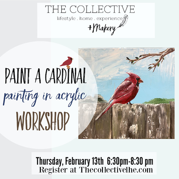 Paint a Cardinal on canvas in acrylic at The Collective lhe +Makery in Lisle, IL