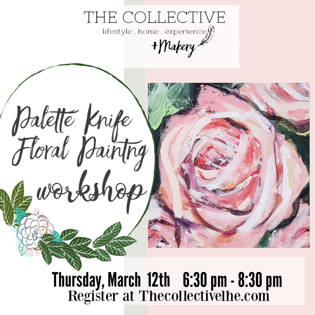 Floral palette knife painting at The Collective lhe Makery in Lisle, IL