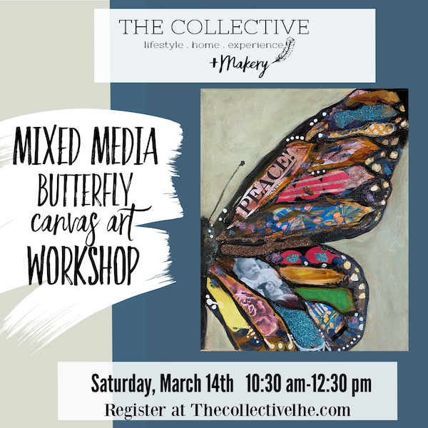 Mixed media buttefly canvas workshop The Collective lhe Makery in Lisle