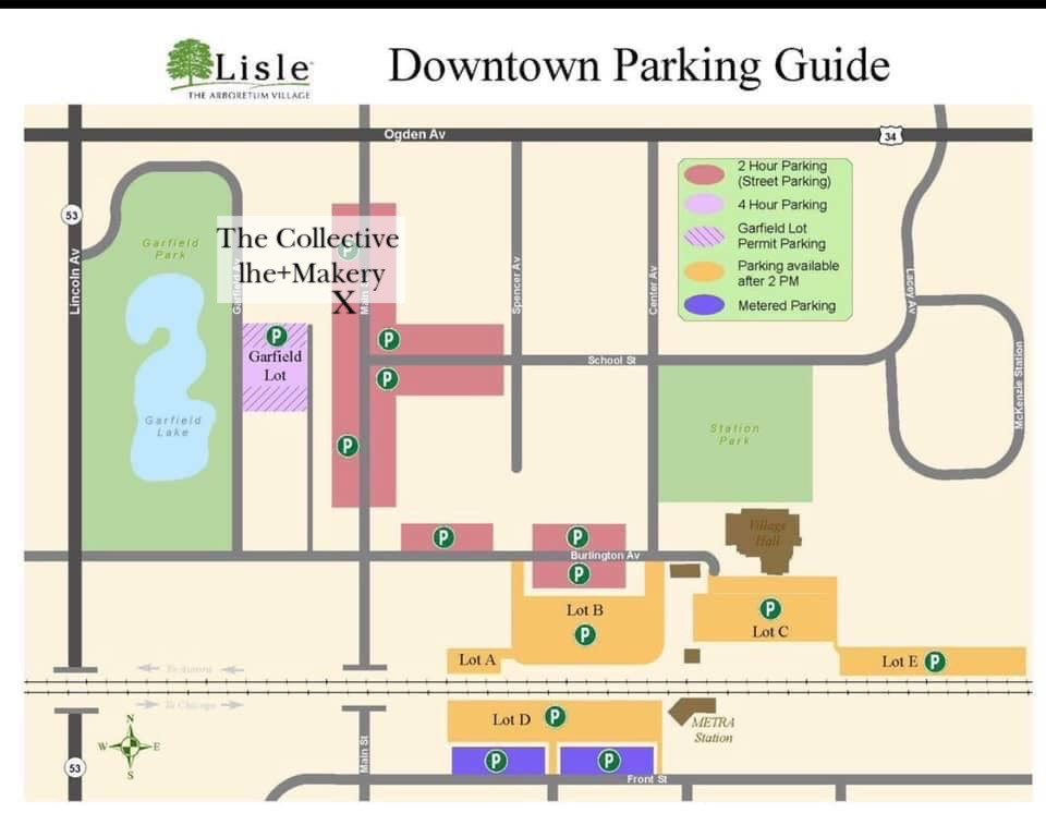 Downtown Lisle parking map and The Collective lhe + Makery in Lisle, IL